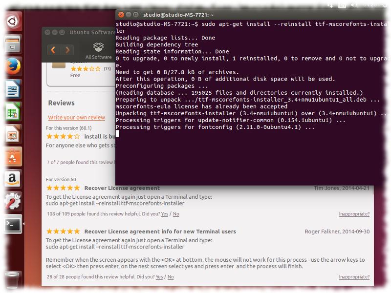 reinstall ttf-mscorefonts-installer